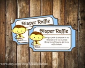 INSTANT DOWNLOAD- Blue Monkey Printable Baby Shower Diaper Raffle Ticket