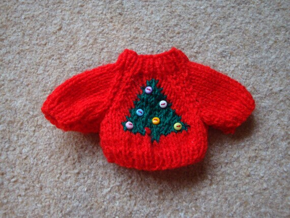 Small Teddy Bear Sweater - Hand knitted - Red with Christmas Tree design