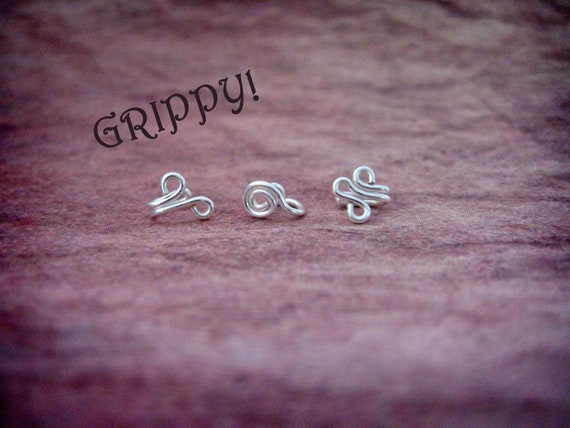 BOGO Set of 3 Tragus Cuffs Silvine Ronin Fleur vine silver spiral ear cuff wire loop swirl curly earring alternative