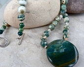 Gary Green Jasper Pendant Ocean Jasper Necklace - Silver Leaf Beads - Green Earthy Fossil Artisan Necklace