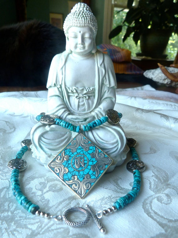Ohm Turquoise Silver Pendant - Vintage Silver Sun Medallions - Turquoise One of a Kind Necklace