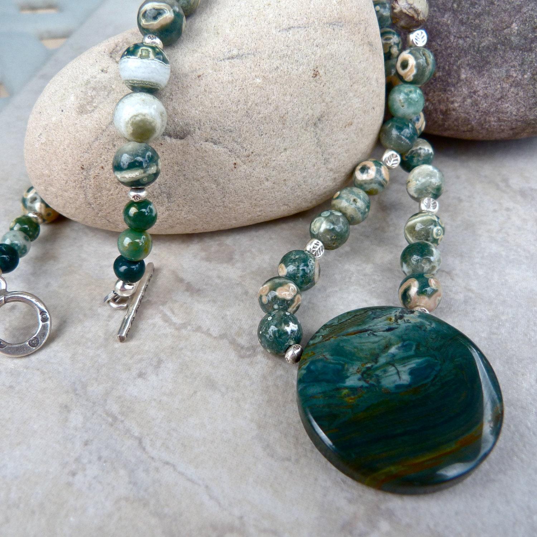 Green Jasper Stone Necklace, Stone Necklace, Wire Wrapped ...  |Green Jasper Jewelry