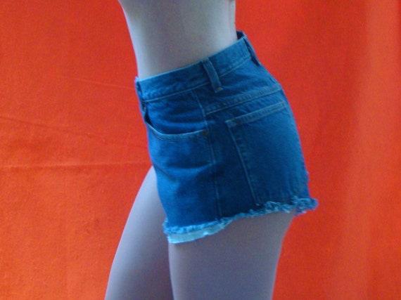 Vintage High Waisted Denim Shorts. Cutoff Jean Shorts by L.L. Bean. Preppy Retro Hipster Shredded Fringed Shorts. Booty Shorts Size 29 Waist