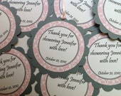 Baby Shower Favor Tags It's A Girl Pink and Gray Damask Set of 12
