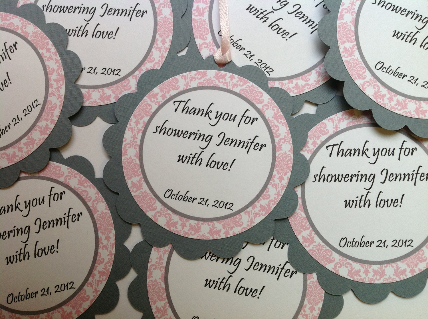 baby shower favor tags it 39 s a girl pink and gray damask