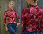 SALE 50s Fitted Ruby Mosaic Feathers  Blouse