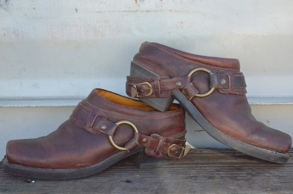 90's Grunge Frye Harness Boot Clogs, 8