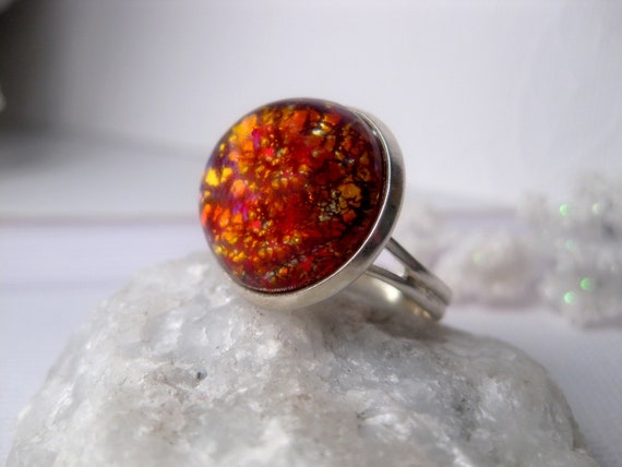 Cathedral Volcano Fire Opal Ring - Golden Orange
