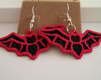 SALE Bat Lace Charm Earrings, Black with Red, Silver Hook Earrings
