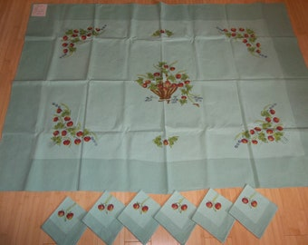 Beautiful European Linen Tablecloth & 6 Napkins...Vintage ...New Condition