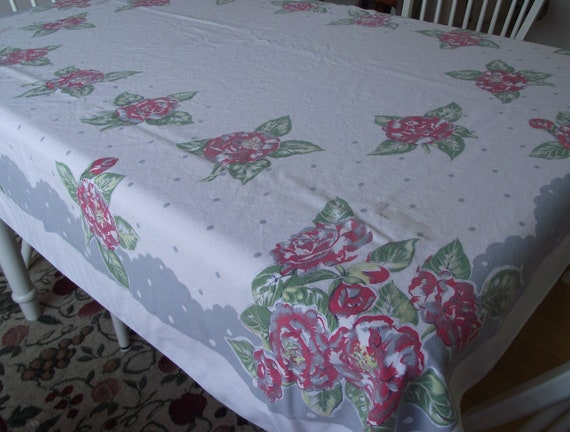 Vintage Tablecloth cotton white with gray and red flowers roses 58X52