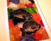 Matted fiber art, fish sketch on mixed-media abstract background