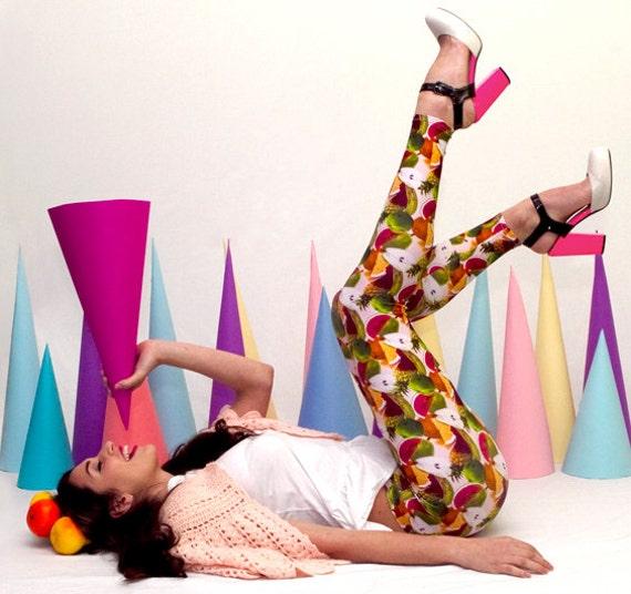 Printed Leggings - Tutti Frutti print leggings - M/L