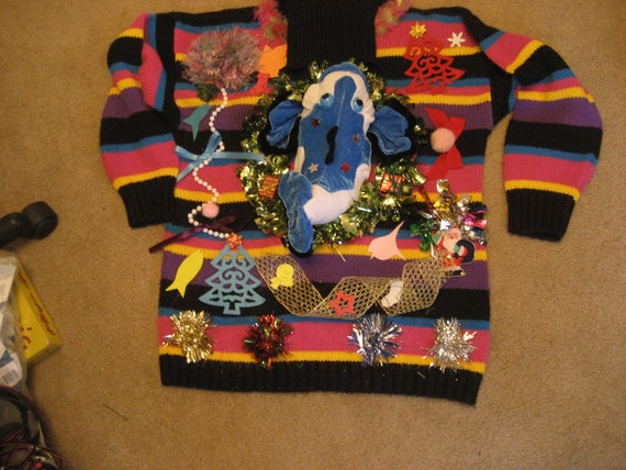 Blue fish ugly christmas sweater woman 39 s size 1x by keriblue4 for Fishing christmas sweater