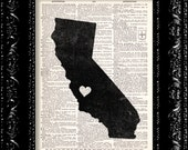 BOGO I Heart California - State Map - Map Art Print Personalized - Vintage Dictionary Print Vintage Book Print Page Art  Vintage Book Art