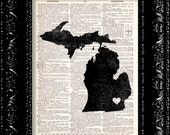 BOGO I Heart Michigan - State Map - Map Art Print Personalized - Vintage Dictionary Print - Book Print Page Art  Vintage Book Art