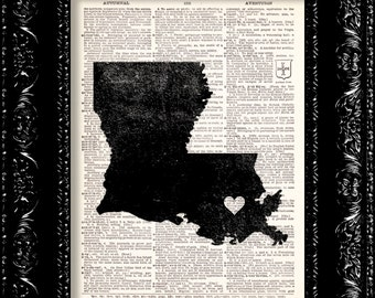 I Heart Louisiana - State Map - Map Art Print Personalized - Vintage Dictionary Print - Book Print Page Art  Vintage Book Art