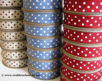 East of India Woven Ribbon Trim - Dotty Spotty Dot Spot - Red Blue Cream - Vintage Style - 3m Roll
