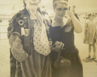 Vintage Photograph - Beach Boardwalk - Lady With Clown