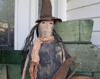 Primitive Halloween Witch Door Hanger Doll--Made to Order