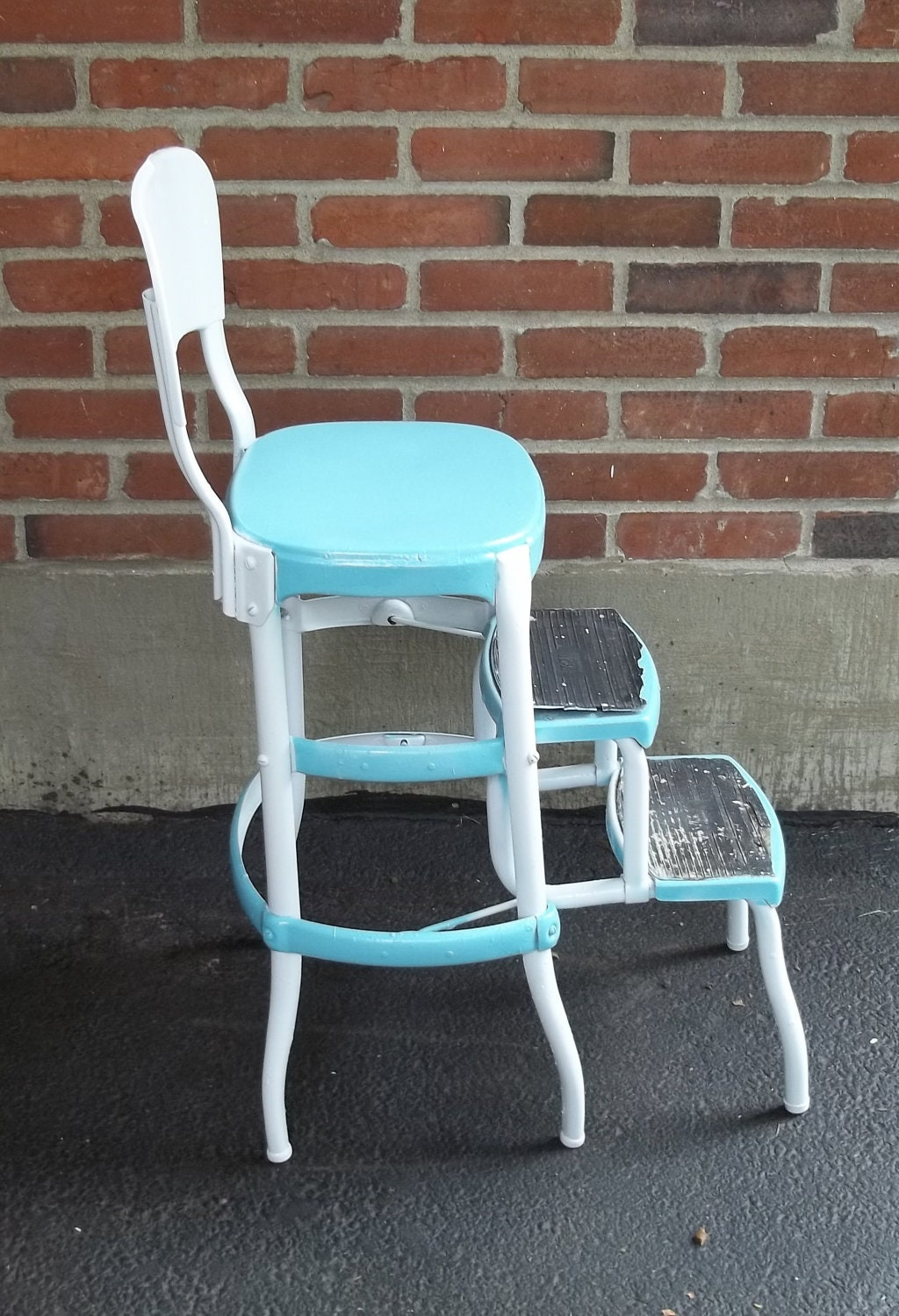 Vintage Cosco All Metal Step Stool Chair In Turquoise Aqua And