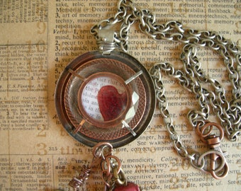 Industrial Chic Mixed Media Altered Art Steampunk Charm Necklace Jewelry