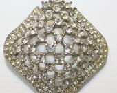 Antique Diamond Rhinestone Brooch, Square Dome, Silver Setting.