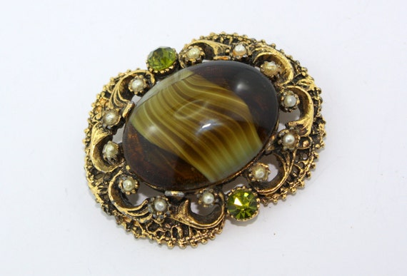 Vintage Givre Glass Brooch, Mossy Green Cabochon, Peridot Rhinestone Accents, Seed Pearls, Antique Metal.