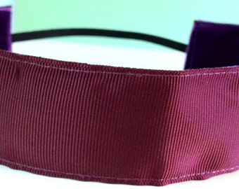 NOODLE HUGGER Non slip ribbon headband - maroon - 1.5 inch (running, working out, everyday: women and girls)
