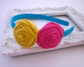 Turquoise, Yellow, and Pink Rolled Rosette Headband for Girls