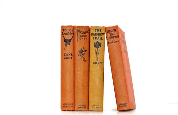 Orange 4 Book Collection Interior Design Zane Grey vintage Book Decor