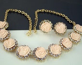 Lovely Vintage Light Pink Roses and Clear Rhinestone Necklace Earring Demi Parure