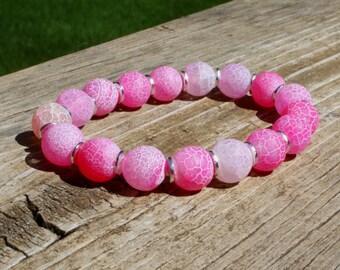 Hot Pink Matte Agate Stretch Bracelet, Stacking Bracelet, Pink Bracelet, Pink Jewelry, Neon Bracelet, Neon Pink  Jewelry, Boho Jewelry