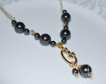 Black Bridal Necklace, Swarovski Black Pearl Necklace, Black Pearl Necklace, Black Bridal Jewelry, Gold Filled Chain Necklace
