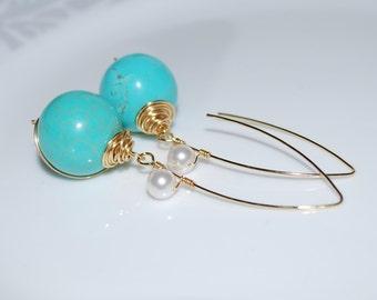 Bridesmaid Earrings, Wire Wrapped Drop Earrings, Wedding Jewelry, Turquoise Dangle Earrings, HowliteTurquoise Ball Dangle Earrings