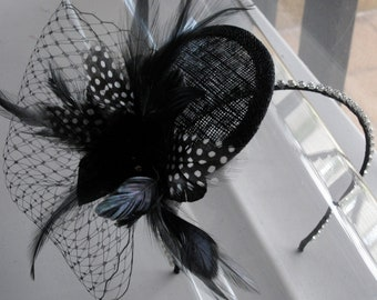 Black Feather Flower Sinamay Fascinator Hat with Veil and Crystal Headband, for weddings, evening, parties, special occasions
