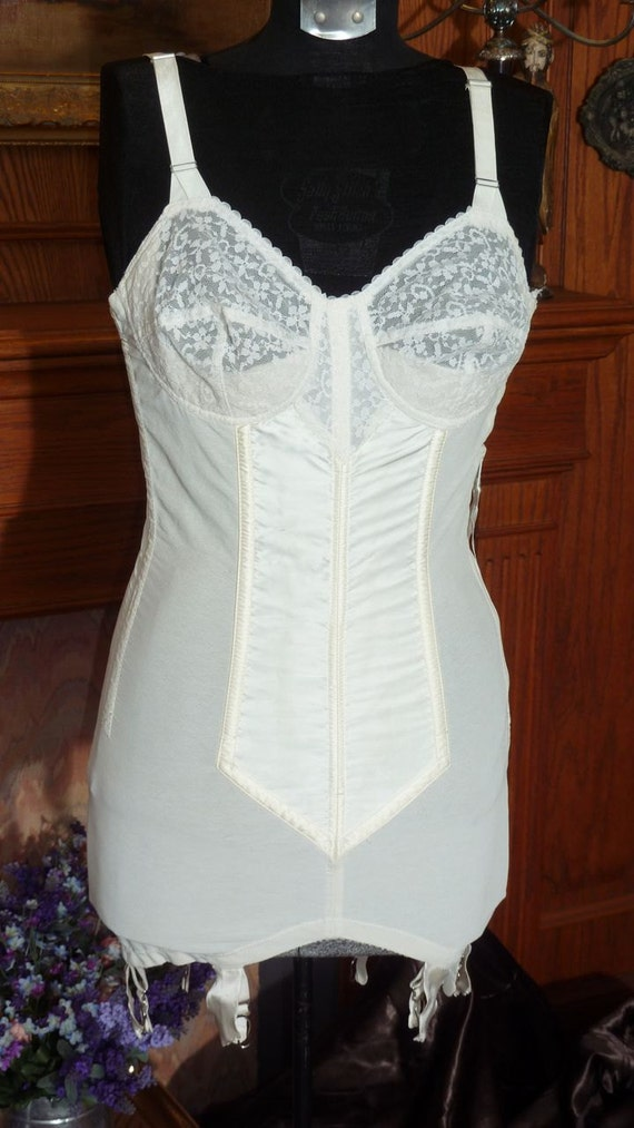 RESERVED For S vintage 1950s Full Body Foundation Garment with garters