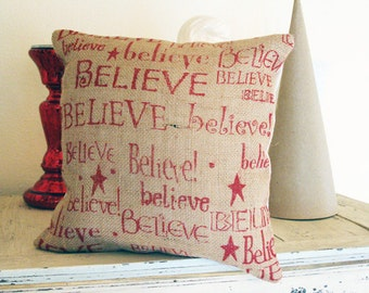 "Burlap Pillow Cover ""Believe"", Holiday Pillow, Natural Burlap"