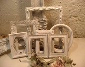 Vintage Shabby Ornate  Frame Collection UPcycled Wood Distressed Chippy  White