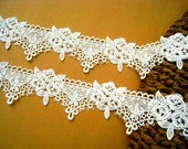 2 yard Ivory Classical Rose Lace for Dress making, Wedding Supplies and Home Decoration.