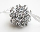 Silver Christmas tree ornament, chainmail dodecahedron