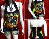 Pantera Metal Punk Rock DIY Sexy Glamour Corset Tank Top Shirt Fit to size S,M,L