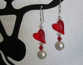 SALE - Swarovski Crystals  Siam Heart and White Pearl Earrings - No Coupon Required