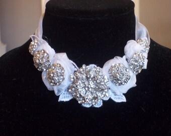 Bridal Statement Necklace - Rhinestones, Lace and Ribbon Romance in White - A Bijoux Bridal Chicago Signature Design