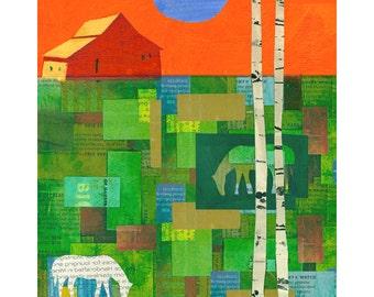 Barn with Birch trees 8x10 PRINT horses field landscape    by Elizabeth Rosen