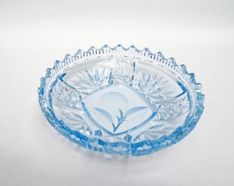 Blue Cut and Etched Glass Candy Dish, Blue Glass Nut Dish, UK Seller