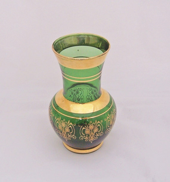 Vintage Green Glass Gold Gilt Vase, Green Glass Small Vase, 1950s