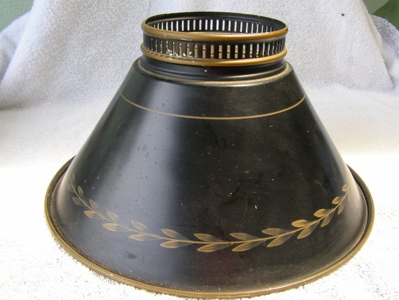 """antique colonial black meta bouillotte lamp shade student swing arm chimney toleware tole painted  gold  gilt 11 1/2""""  by 4 1/2"""""""
