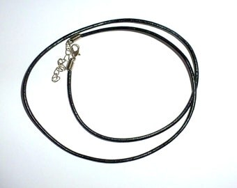 2.5mm 25-27 inch adjustable black GENUINE leather necklace cord with lobster clasp