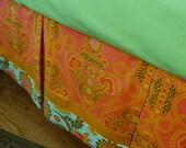Organic Baby Bedding /Organic Cotton Crib Skirt /Dust Ruffle/Pleated with Border